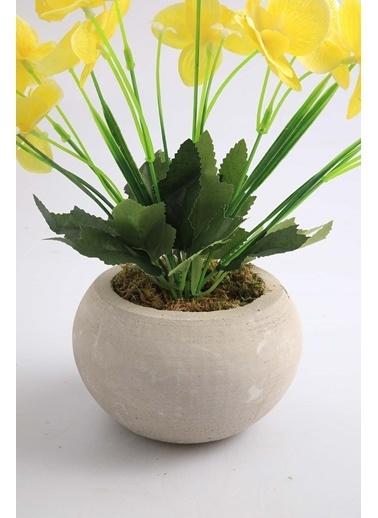 Kibrithane Çiçek Yapay Çiçek Beton Saksı Mini Sarı Kumaş Orkide Kc00200807 Renkli